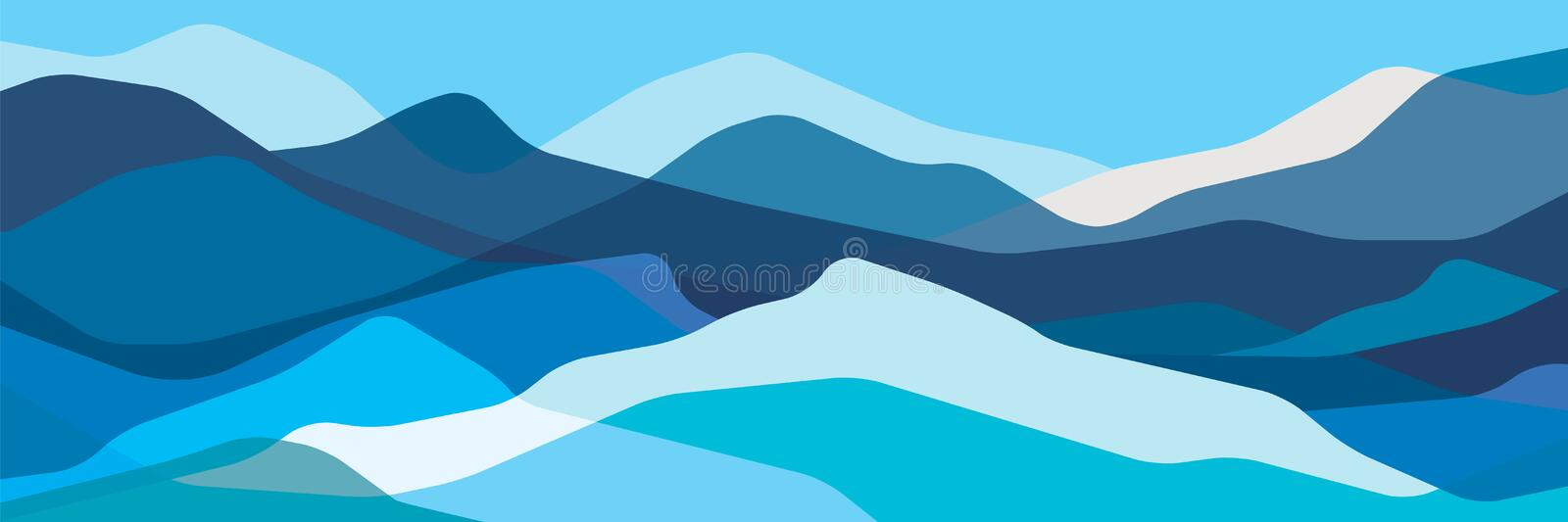 Colorez les montagnes, vagues translucides, formes en verre abstraites, le fond moderne, illustration de conception de vecteur po illustration libre de droits