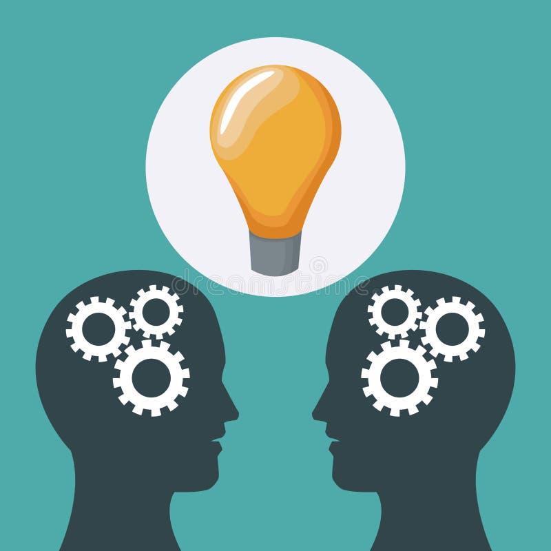 Colorez les têtes du fond deux des personnes avec les mécanismes et l'icône de solution illustration de vecteur
