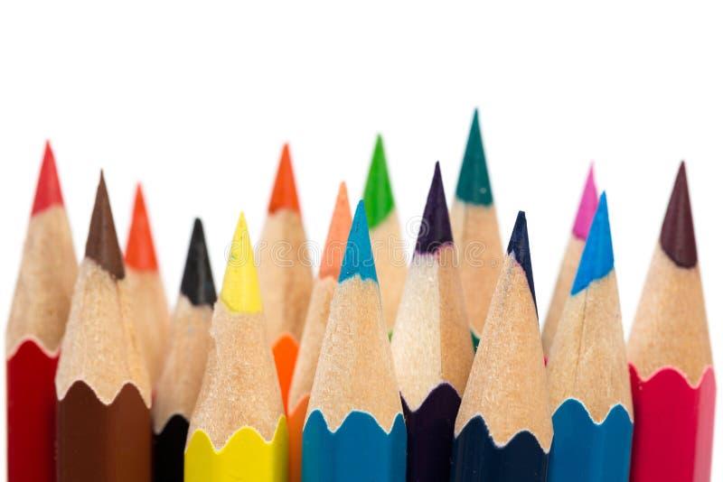 Colorez pour affiler des crayons photo libre de droits