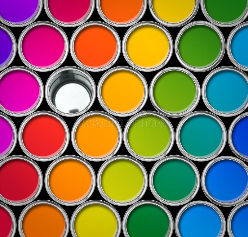 Colorez vue de boîtes en fer blanc de peinture la première images libres de droits