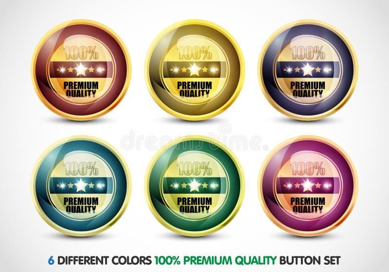 Colorful 100% Premium Quality Button Set stock illustration