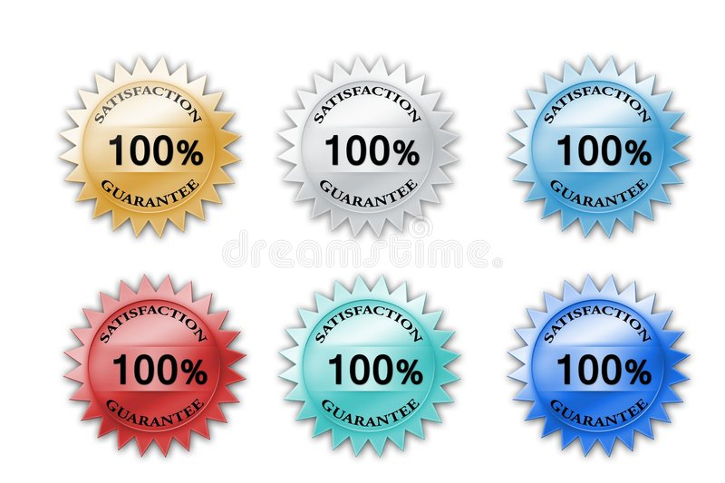Colorful 100% satisfaction guarantee icons stock illustration