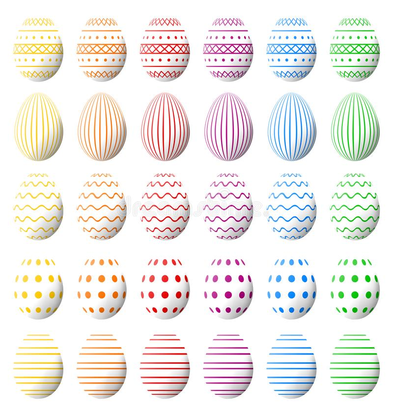 White Easter eggs collection with shadow and various colorful patterns. High quality, photorealistic vector. Set of white Easter eggs with various colorful vector illustration