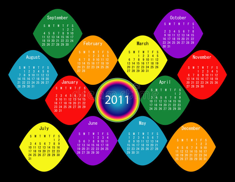 Download Colorful 2011 Calendar stock vector. Image of march, month - 14955810