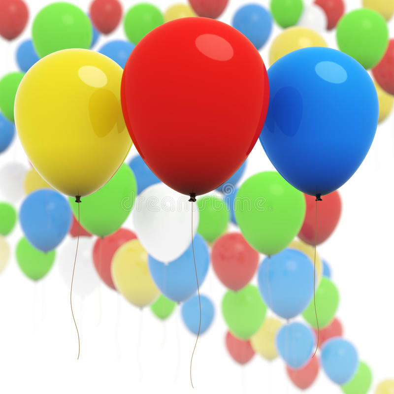 Colorful 3d balloons - Three in focus royalty free illustration