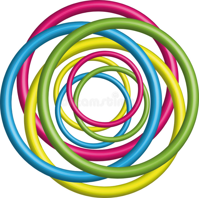 Colorful 3d circle Background stock illustration