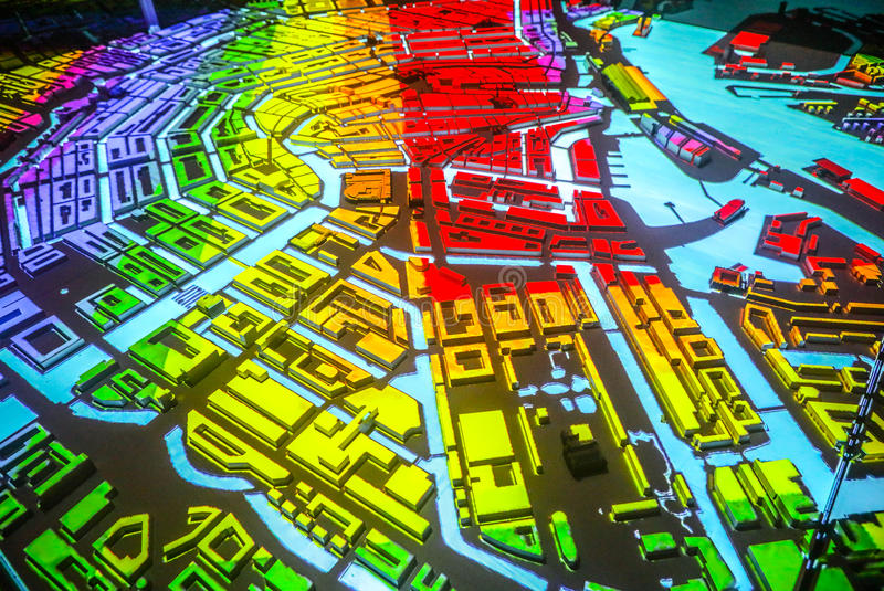Colorful abstract Amsterdam city map in perspective.  royalty free stock photo