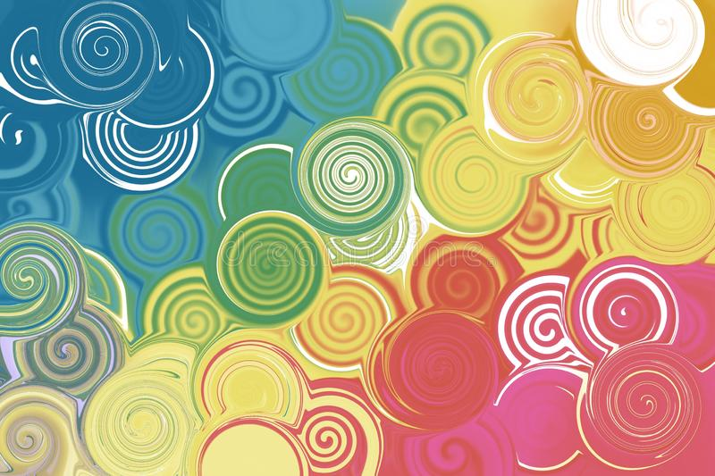 Colorful abstract art background, spiral pattern royalty free illustration