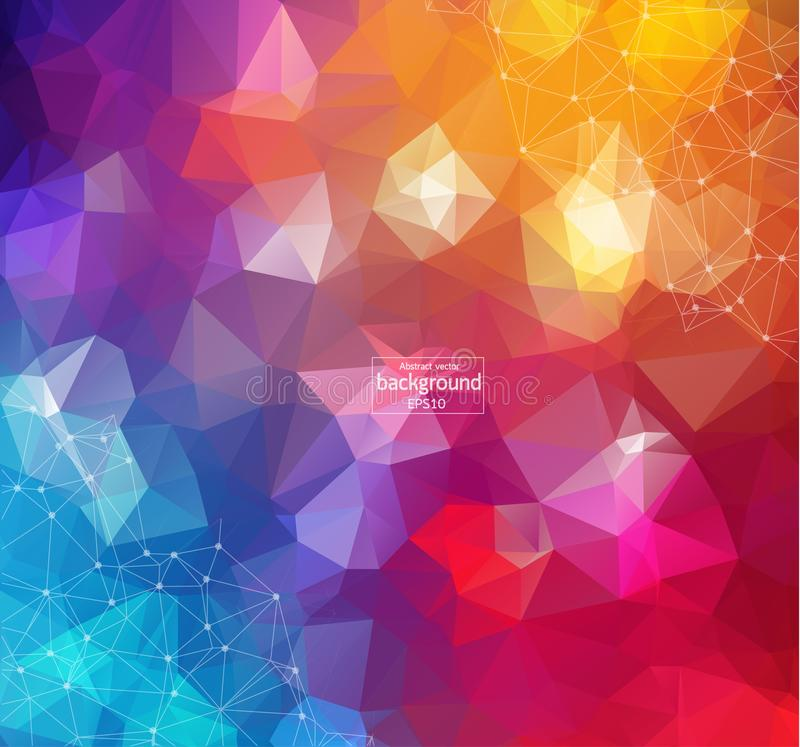 Free Colorful Abstract Background. Abstract Polygonal Background With Connecting Dots And Lines. Connection Structure. Vector Science B Stock Photo - 131951530