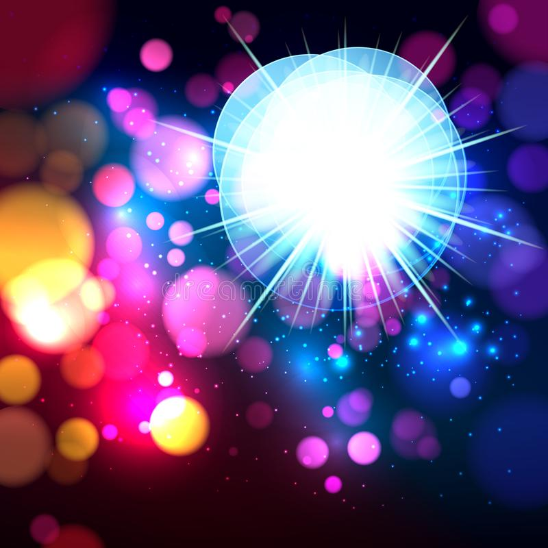 Colorful abstract background with bokeh defocused lights. Circles banner for your text. Vector illustration vector illustration