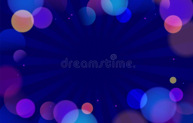 Colorful Abstract Background with Bokeh Defocused Lights Circles and Sunburst Pattern in Center. Blurred Backdrop. With Copy Space for Text, Banner Poster or stock illustration