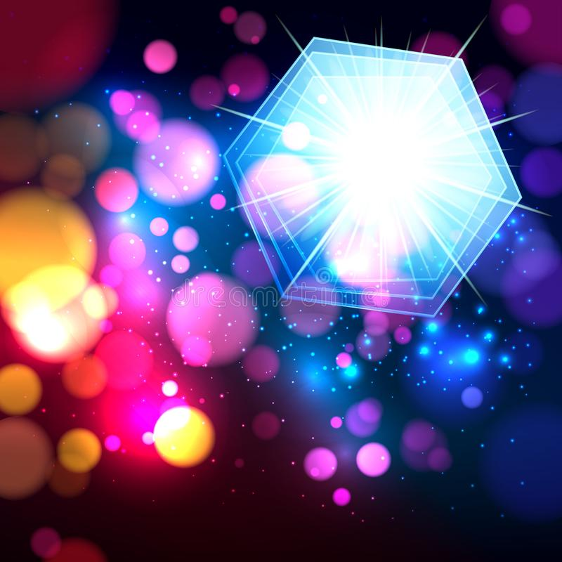 Colorful abstract background with bokeh defocused lights. Hexagon banner for your text. Vector vector illustration
