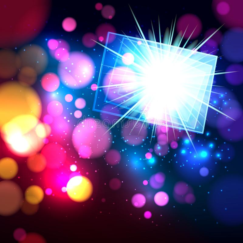Colorful abstract background with bokeh defocused lights. Rectangle banner for your text. Vector illustration stock illustration