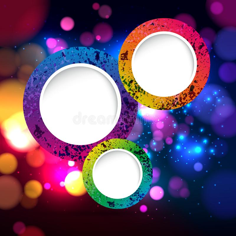 Colorful abstract background with bokeh defocused lights. Round banner for your text. Vector stock illustration