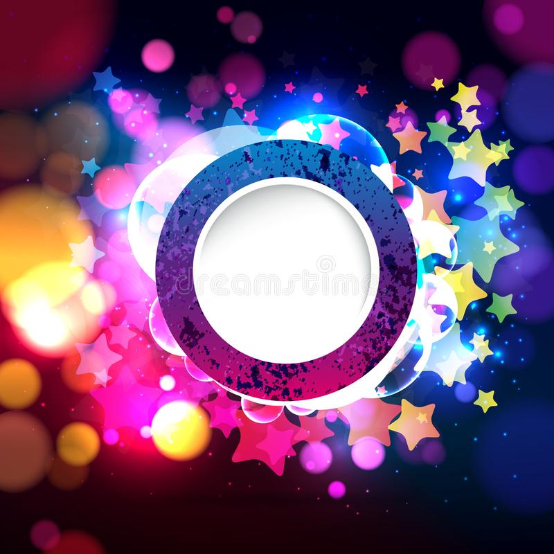 Colorful abstract background with bokeh defocused lights. Round banner for your text. Vector illustration stock illustration