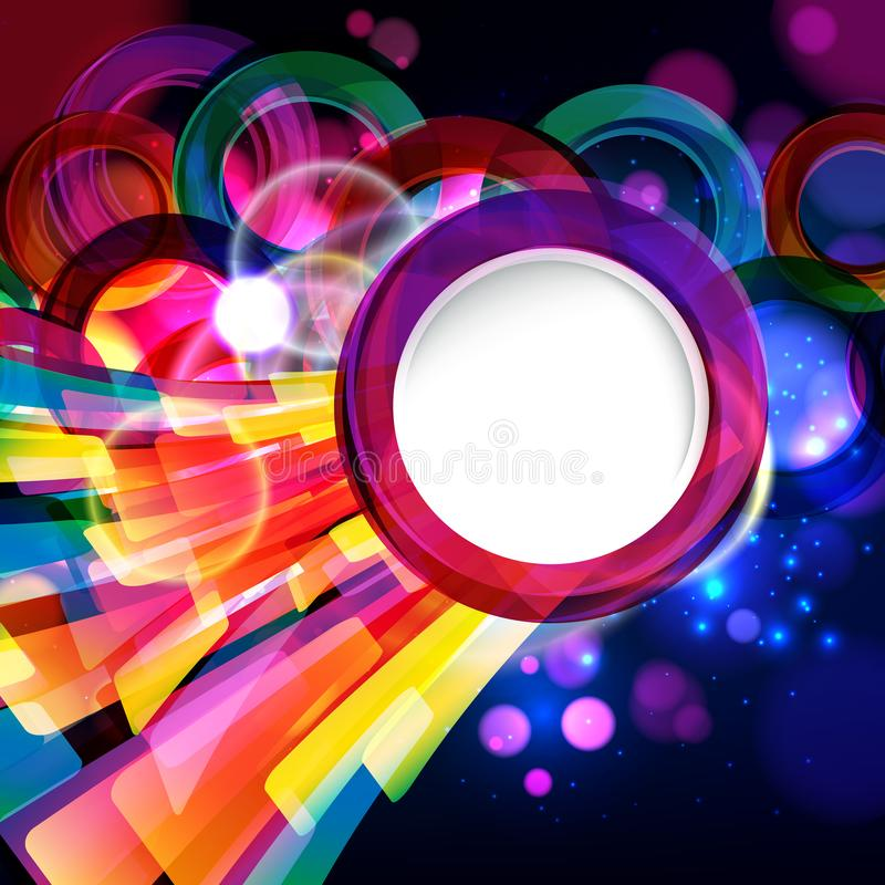 Colorful abstract background with bokeh defocused lights. Round banner for your text. Vector illustration royalty free illustration