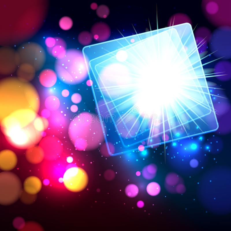 Colorful abstract background with bokeh defocused lights. Square banner for your text. Vector illustration royalty free illustration