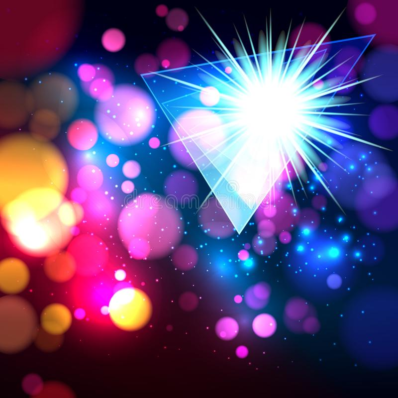 Colorful abstract background with bokeh defocused lights. Triangle banner for your text. Vector illustration stock illustration