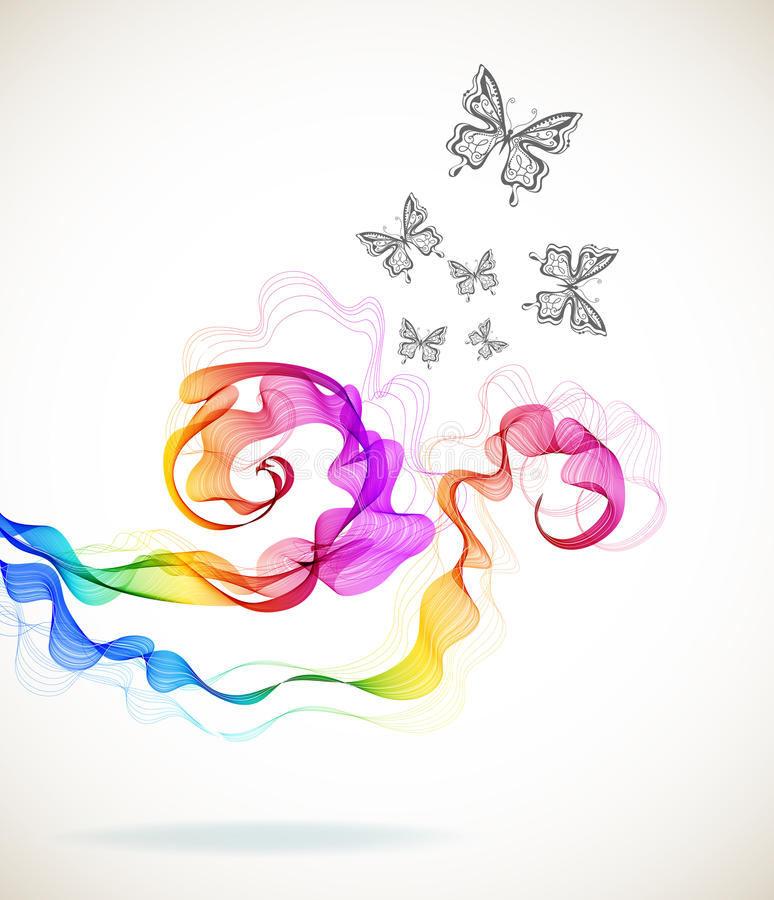 Colorful abstract background with butterfly and wave. Illustration vector illustration
