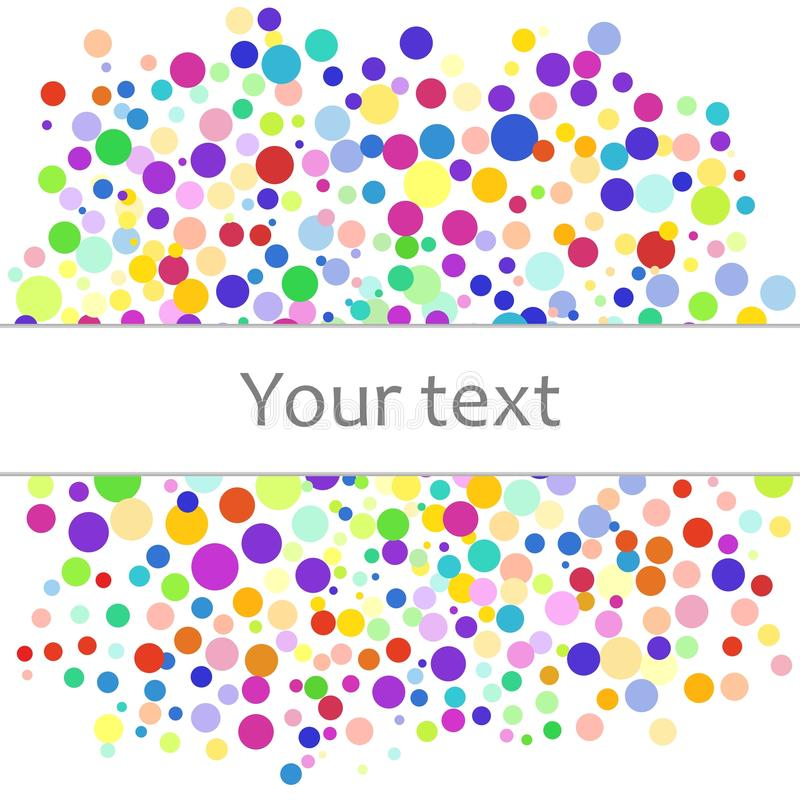 Colorful abstract background of colorful dots, circles with place for your text. Vector illustration for bright design. royalty free illustration