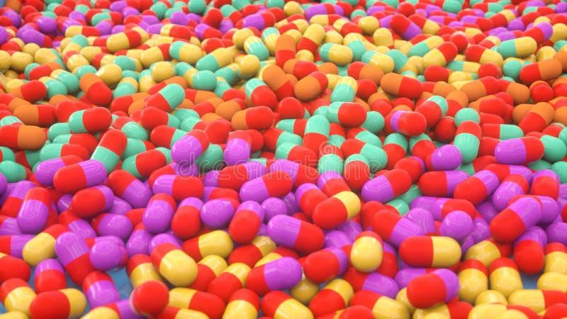 3d medicine capsules. 3d render medicine capsules colorful stock illustration