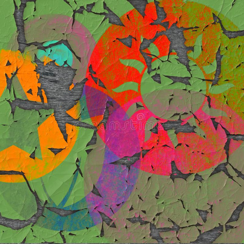 Colorful Abstract Background Old Poster, paint on wood. An abstract background image with an old paper poster design on a wood royalty free stock photo