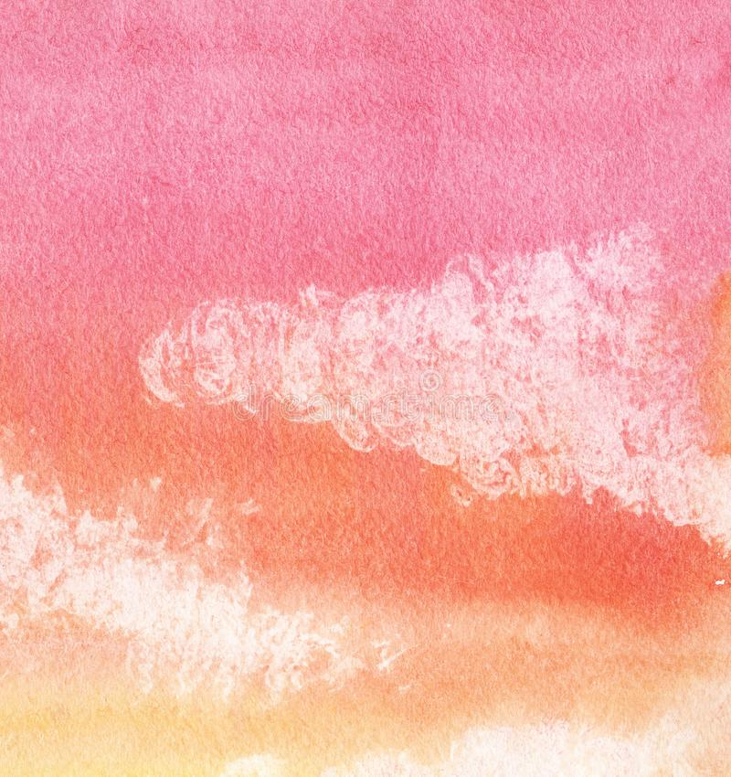 Colorful abstract background. Orange, red gradient. Sky with clouds. Hand drawn with watercolor on a textured paper. Colorful abstract background. Orange, red royalty free stock image