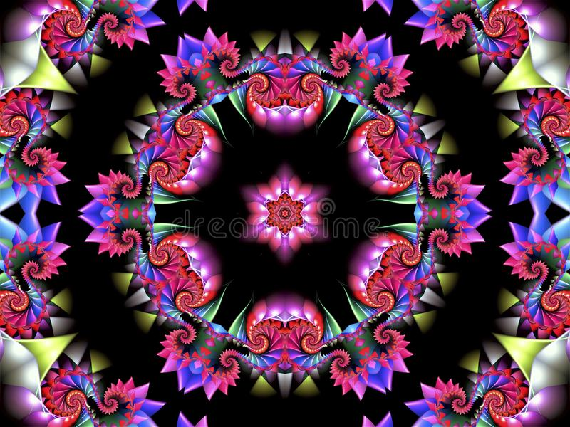 Colorful abstract background with a multi-colored circular ornament with various shapes and a beautiful abstract star in the cente royalty free illustration