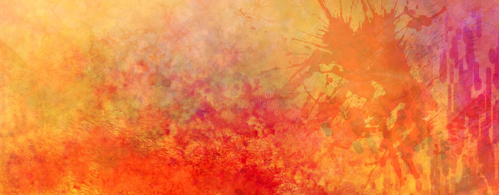 Colorful abstract background with paint spatter and grunge texture, bright orange red yellow and purple pink colors with lots of g vector illustration
