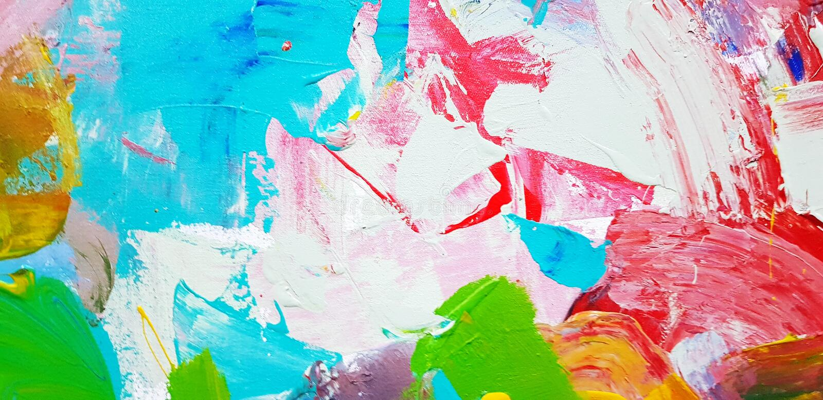 Colorful abstract background painted on canvas frame in acrylic color style. royalty free stock images