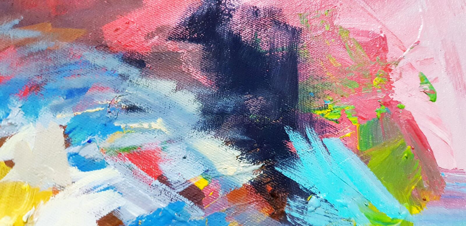 Colorful abstract background painted on canvas frame in acrylic color style. stock photo