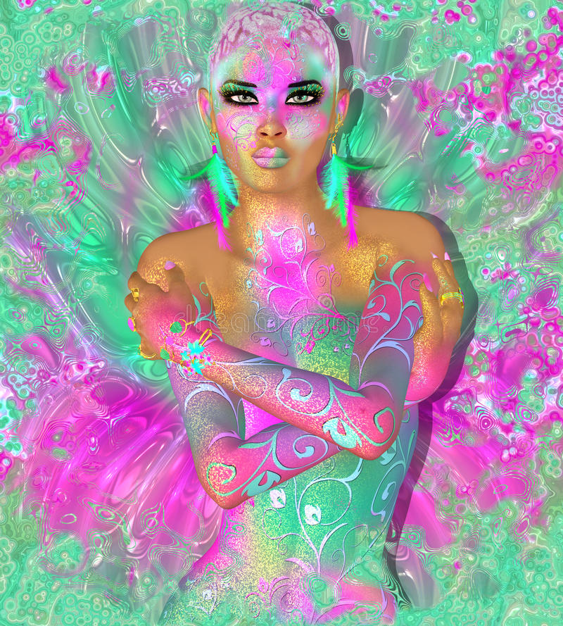 Colorful abstract, beautiful fashion woman, makeup, long eyelashes with short hairstyle and body pai stock photography