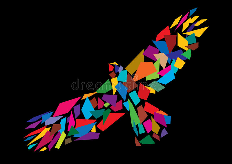 Colorful abstract bird flying vector illustration