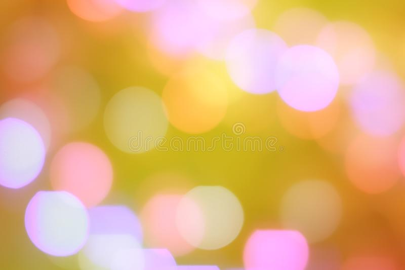 Colorful abstract blurred circular bokeh light of night city street for background. graphic design and website template stock photos