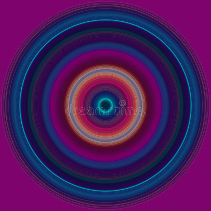 Colorful abstract bright circle , radial striped texture in purple and blue tones on magenta background. Round pattern.  stock illustration