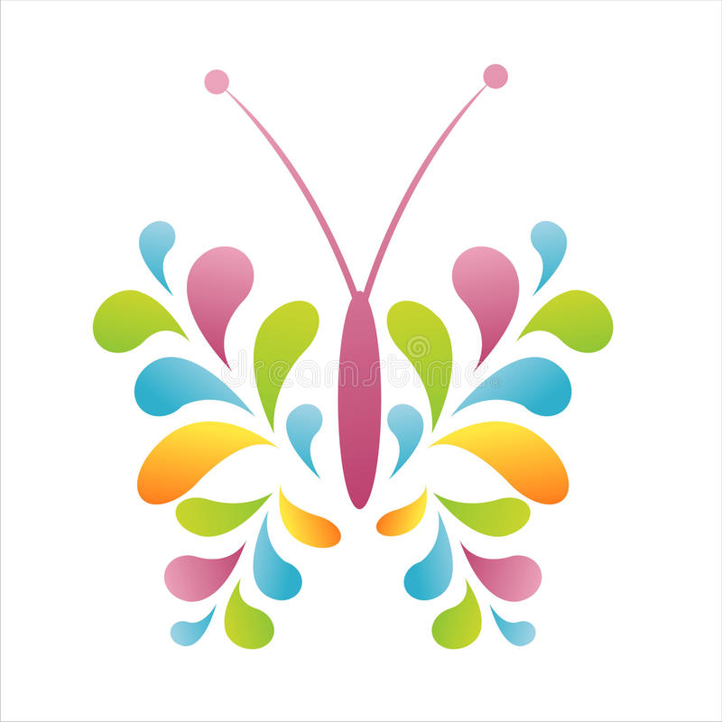 Colorful abstract butterfly. Isolated on white stock illustration