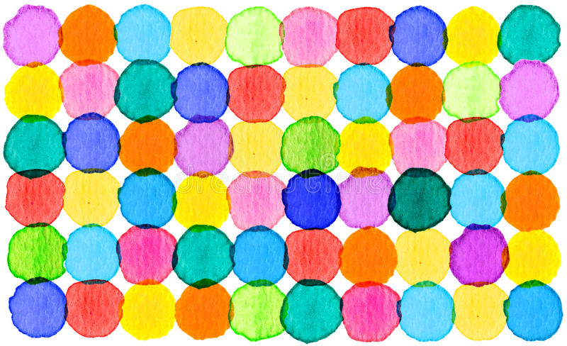 Colorful abstract circle pattern watercolor background stock illustration