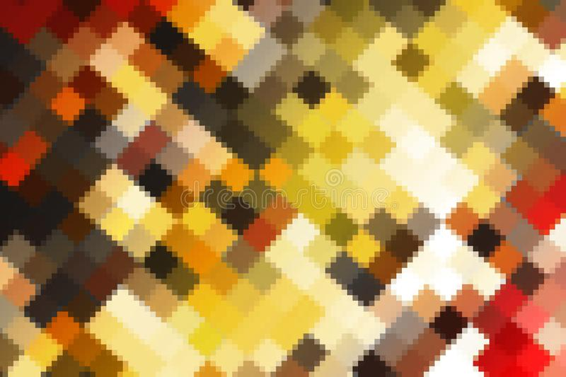 colorful abstract color crystallize art big and small square red brown yellow tone stock photo