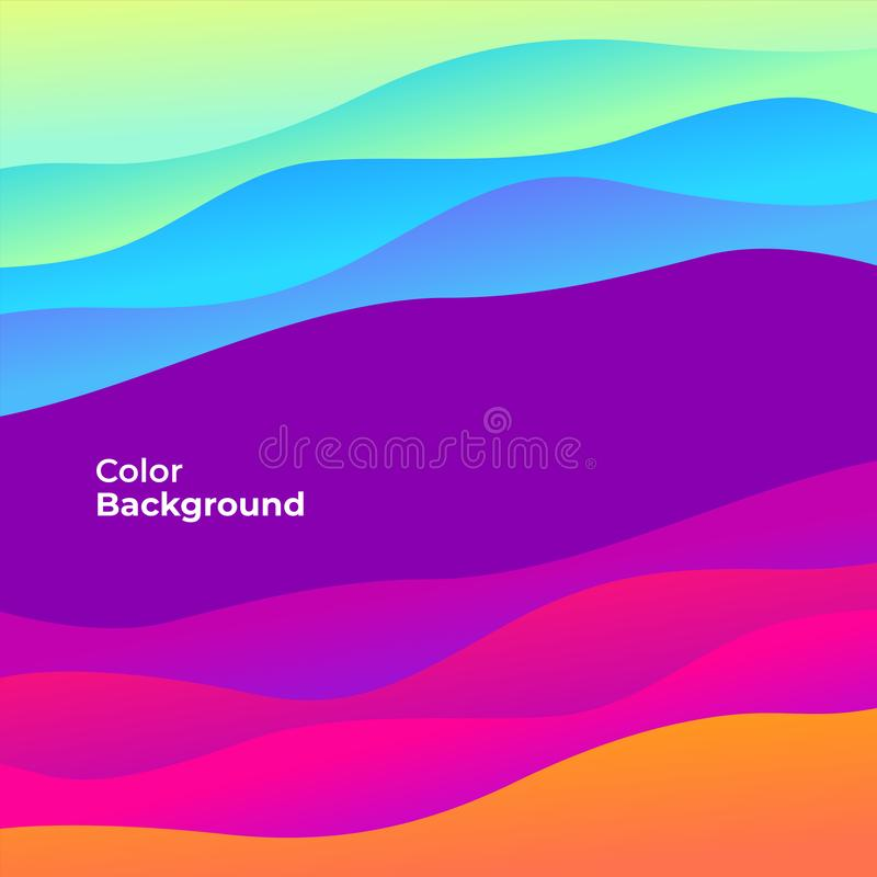 Colorful abstract curve banner. Trend gradient. Fluid shapes composition. Vector royalty free illustration