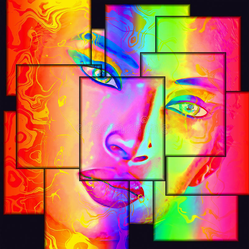 Colorful abstract digital art of woman's face vector illustration