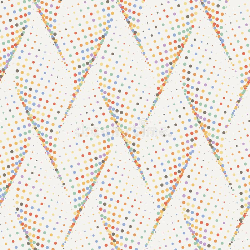 Abstract dotted wave stylish texture. Vector seamless geometric pattern. Colorful abstract dotted wave stylish texture. Endless modern halftone background vector illustration