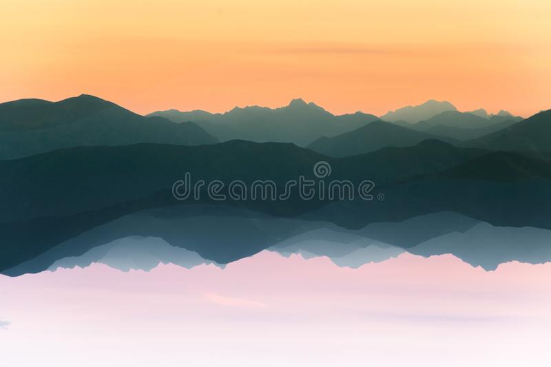 Colorful, abstract double exposure of mountains in sunrise. Minimalist scenery with color gradients. Tatra mountains in Slovakia, Europe royalty free stock photos
