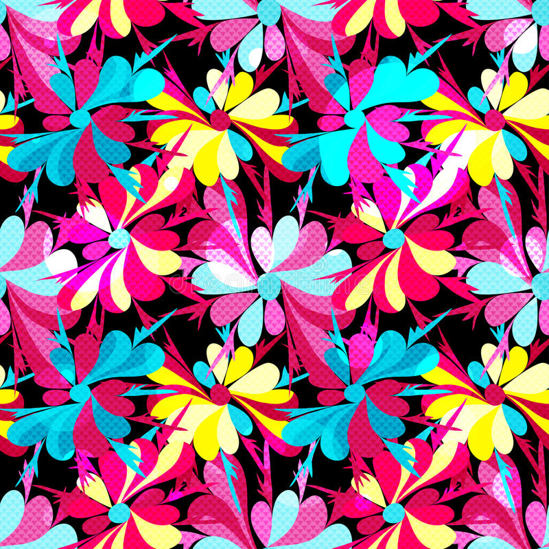 Colorful abstract flowers on a black background seamless pattern royalty free illustration