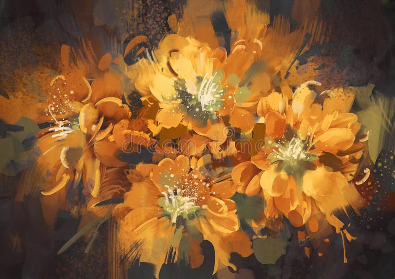 Colorful abstract flowers with grunge texture royalty free illustration