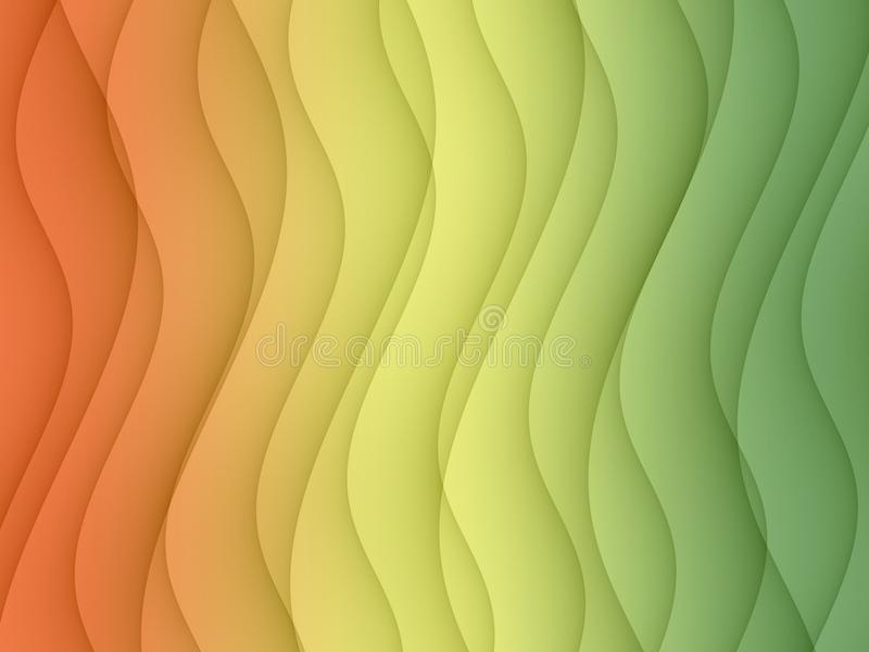 Colorful light peach yellow green horizontal curves lines abstract background design royalty free illustration