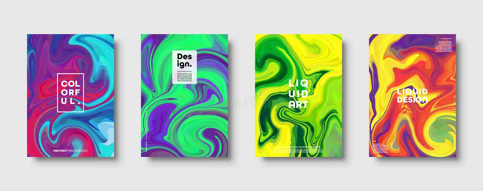 Colorful abstract geometric background. Liquid dynamic gradient waves. Fluid marble texture. Modern covers set. Eps10 stock illustration