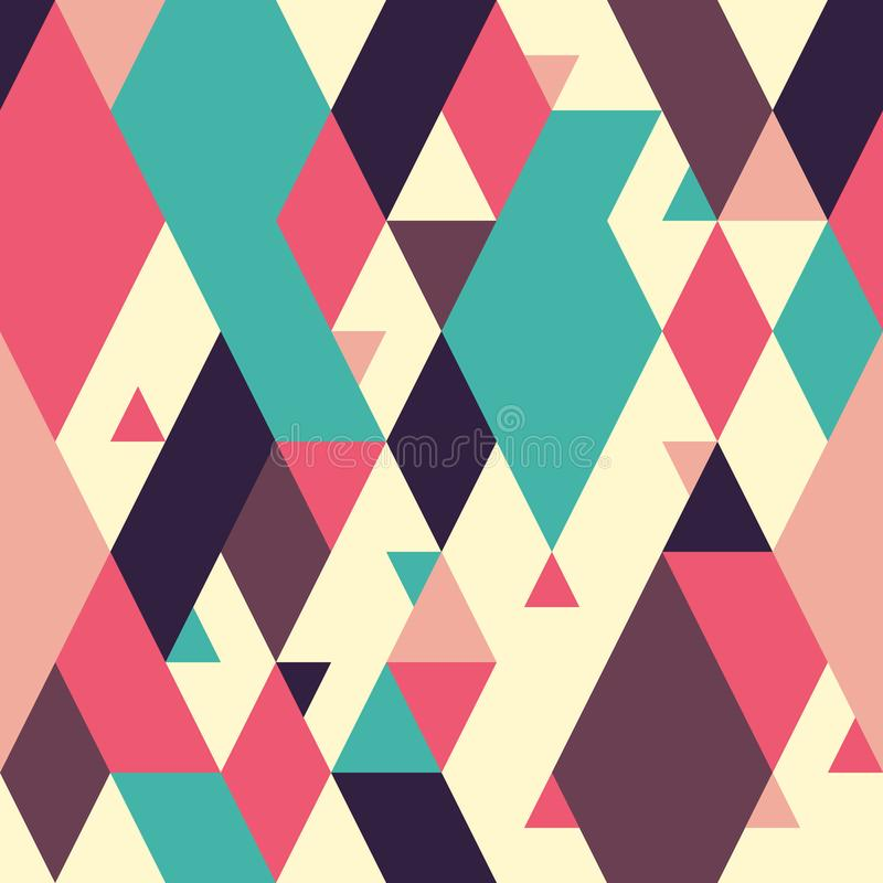 Classic abstract geometric seamless pattern with triangles and large rhombuses. royalty free illustration