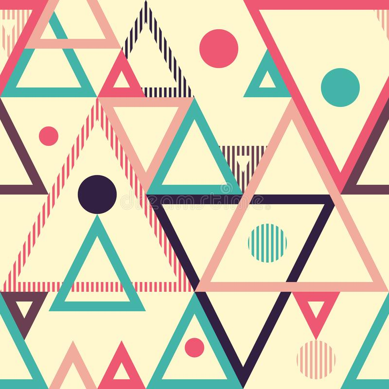 Geometric abstract seamless pattern with triangles and circles. royalty free illustration