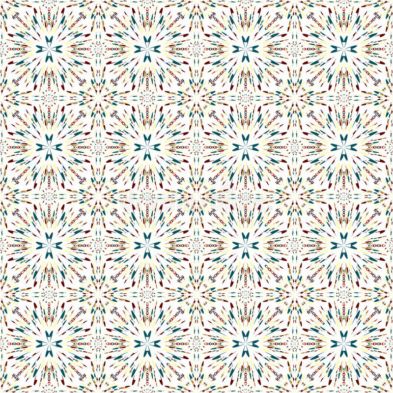 Colorful abstract geometrical objects on a white background seamless pattern vector illustration stock illustration