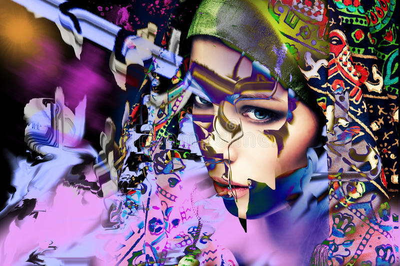 Colorful abstract girl portrait. Young woman fantasy abstract vibrant colorful portrait royalty free stock photography